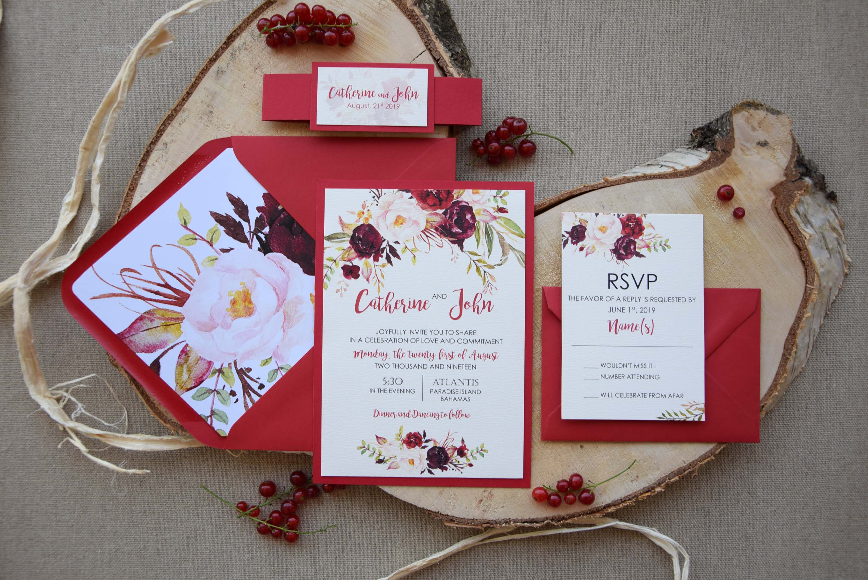Autumn Shabby Chic Wedding Invitations, Floral Wedding Invitations