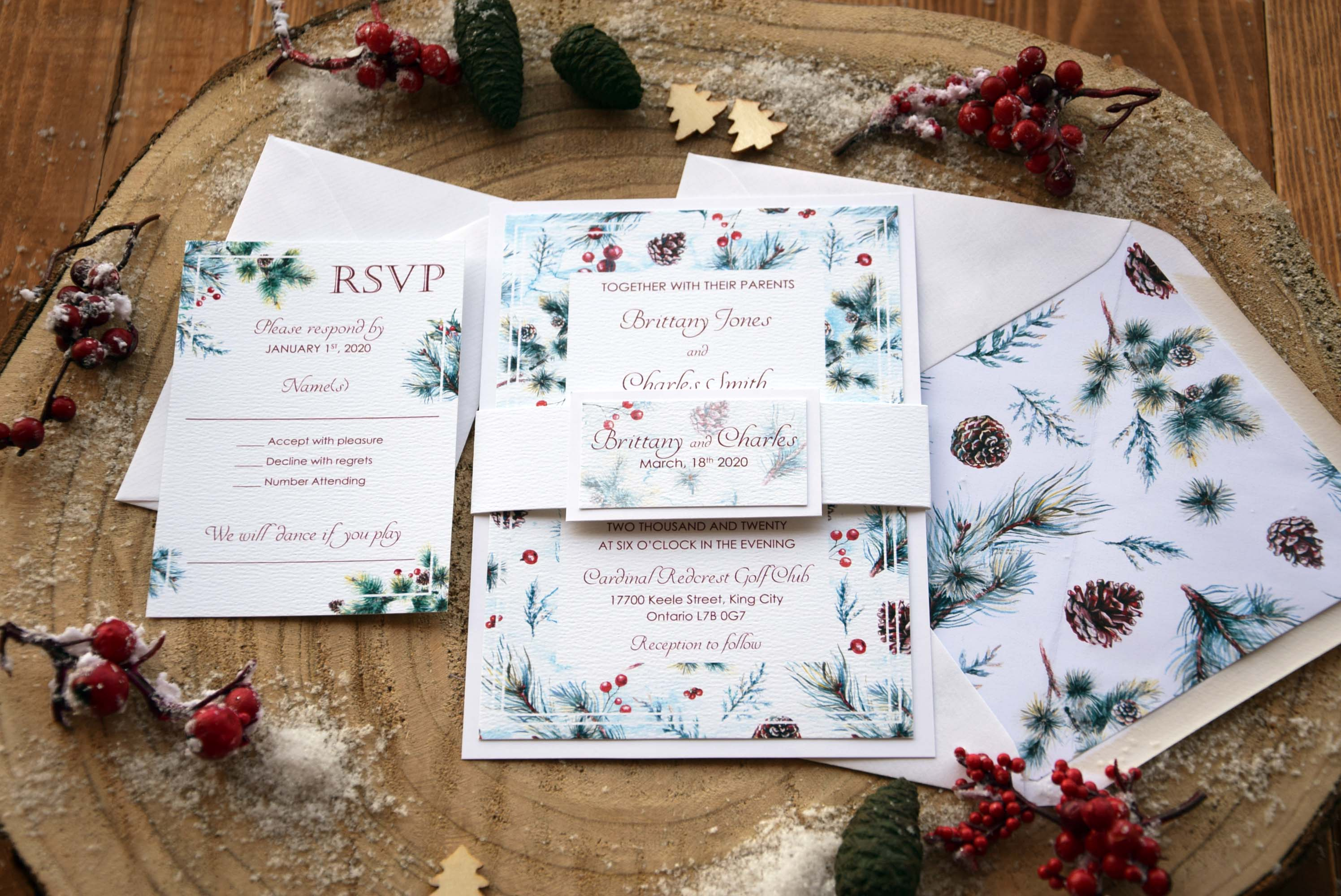 Christmas Wedding Invitations.Elegant Christmas Wedding Invitations