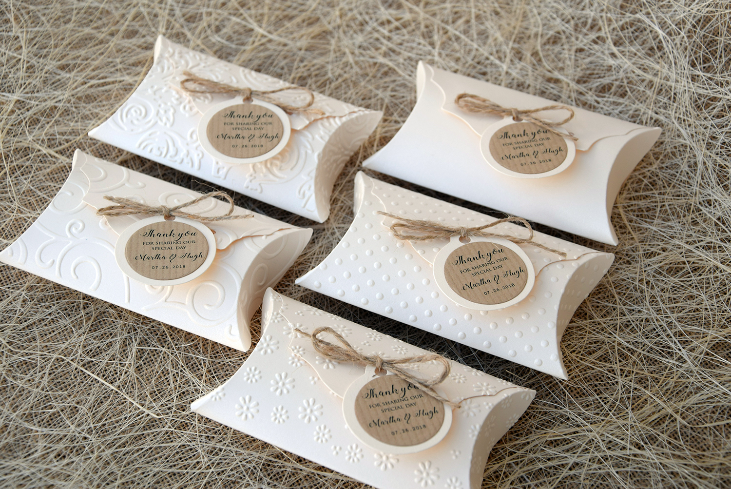 Unique Wedding Favor Pillow Boxes, Wedding Gift Boxes, Ivory Gift Boxes