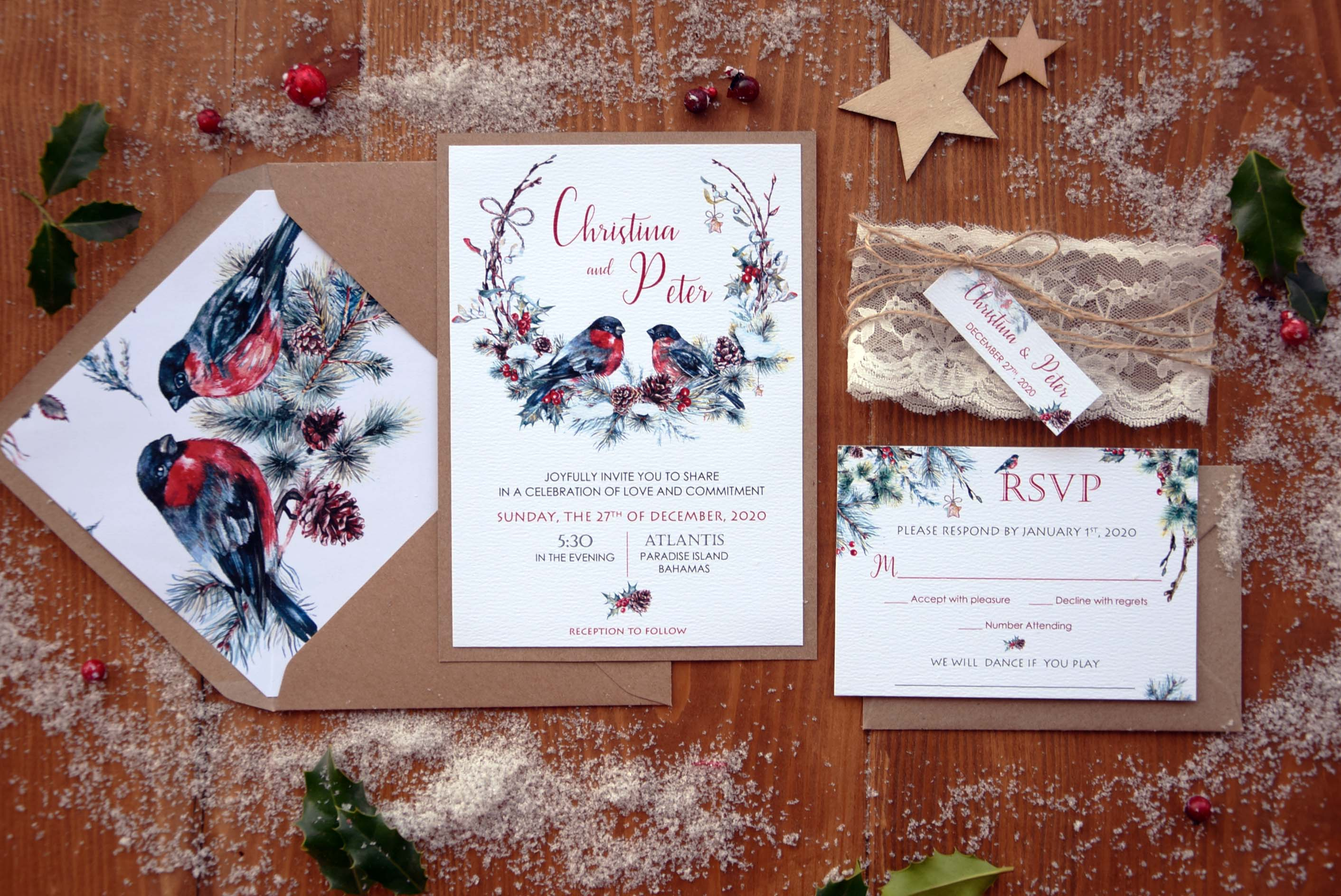 Christmas Wedding Invitations.Rustic Christmas Wedding Invitations